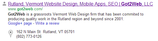 Vermont SEO - This is how a search engine displays the title element