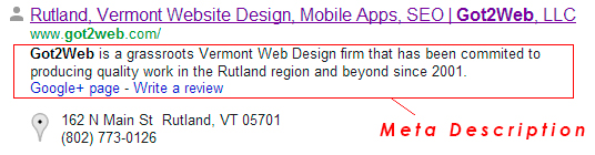 Vermont SEO - This is what a description tag looks like in Google